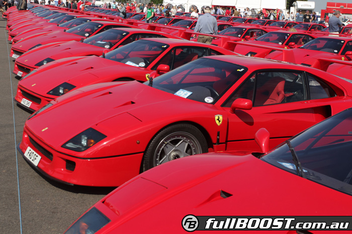 silverstone turns red with 60 ferrari f40 supercars. Black Bedroom Furniture Sets. Home Design Ideas